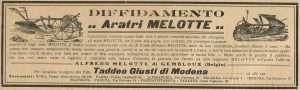 Annuncio pubblicitario dell'aratro Melotte