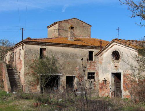La casa colonica, la stalla e gli annessi del podere Vita in campagna dopo la guerra