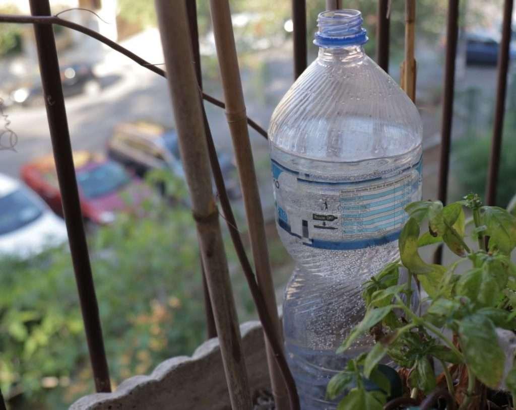 Bottiglia piena con piccolo foro sul fondo