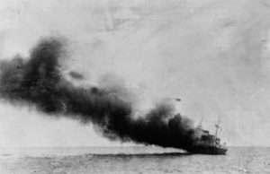 Nave Paganini in fiamme, affondò il 28 giugno del 1940