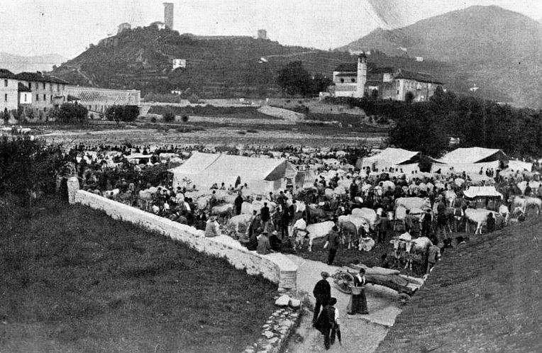 Fotografia storica della fiera del bestiame a Cortemilia in Borgo La Pieve.